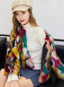 Muti-color Straight Faux Fur Jacket