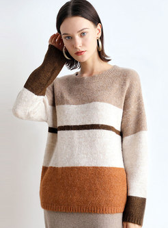 Crew Collar Color-blocked Loose Pullover Sweater