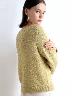 Crew Collar Loose Pullover Sweater