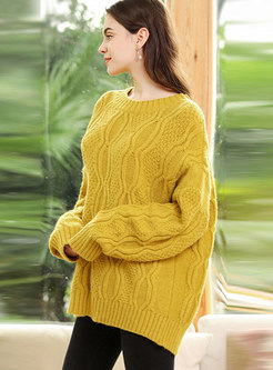 Yellow Bat Sleeve Loose Pullover Sweater