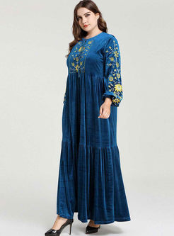 Plus Size Embroidered Velvet Maxi Dress