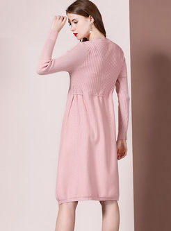 Long Sleeve Drawcord Sweater Dress