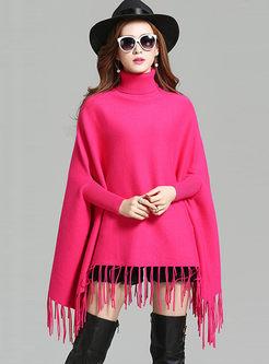 Turtleneck Bat Sleeve Fringed Loose Sweater