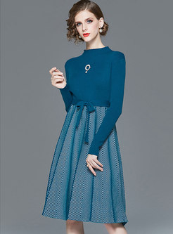 Mock Neck Color-blocked Patchwork Waist Sweater Dress