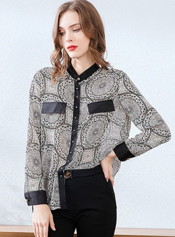Mock Neck Patchwork Print Zip-up Blouse