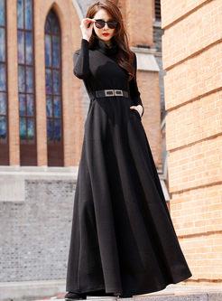 Turtleneck Long Sleeve Big Hem Maxi Dress