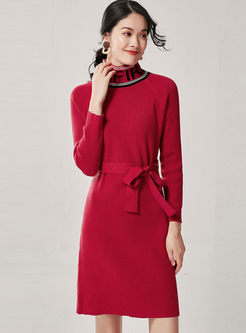 Turtleneck Letter Print Sweater Dress