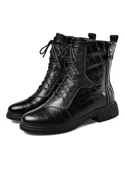 Leather Short Plush Martin Boots