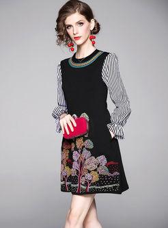 Embroidered Striped Patchwork Skater Dress