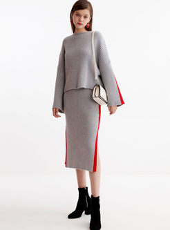 Crew Neck Long Sleeve Sweater Skirt Suit