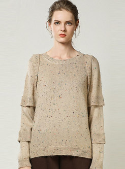 Crew Neck Patchwork Loose Pullover Sweater