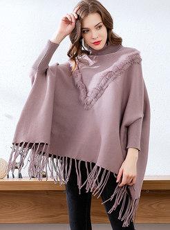 High Collar Bat Sleeve Beading Fringed Sweater