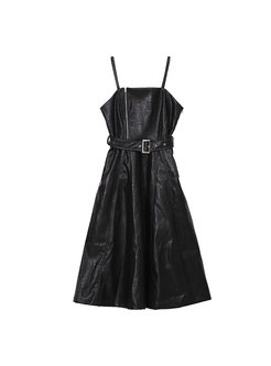 PU A Line Strap Dress