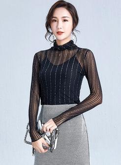Transparent Mesh T-shirt With Camisole