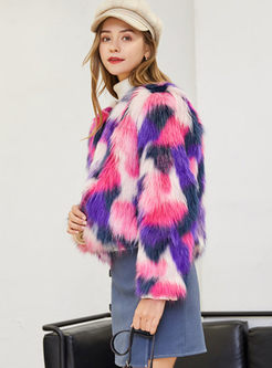 Crew Neck Long Sleeve Faux Fur Jacket