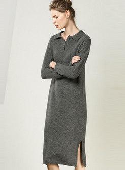Gray Lapel Split Shift Dress