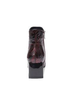 Chunky Heel Short Plush Short Boots