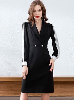 Notched Long Sleeve Office Bodycon Dress