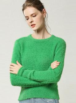 Solid Color Crew Neck Slim Pullover Sweater