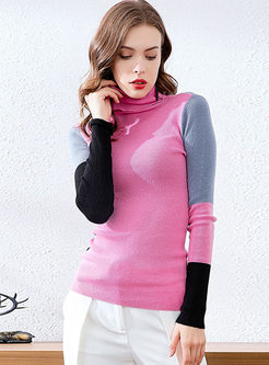 Color-blocked Turtleneck Slim Sweater