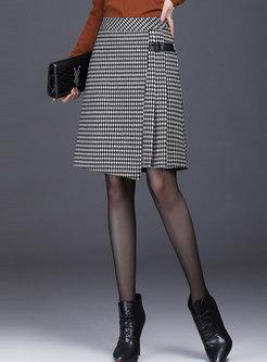 High Waisted Plaid Pleated A Line Skirt