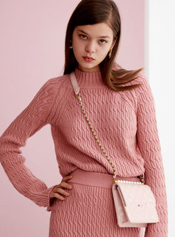 Pink Mock Neck Straight Loose Pullover Sweater