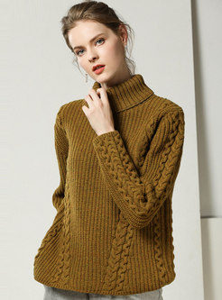 Solid Color High Collar Loose Pullover Sweater