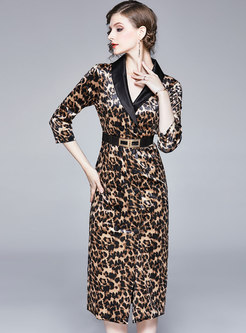 V-neck Patchwork Leopard High Waisted Bodycon Dress