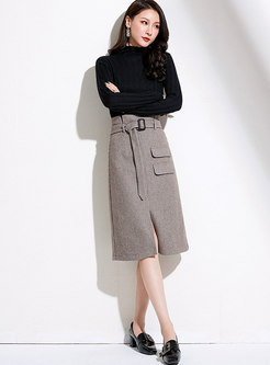 High Waisted Plaid Split A Line Skirt