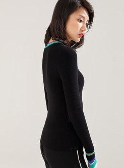 Crew Neck Color-blocked Slim Pullover Sweater