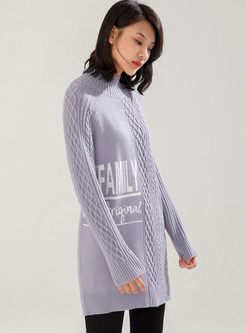 Mock Neck Letter Print Long Sweater