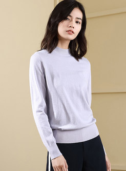 Solid Color Backless Pullover Sweater