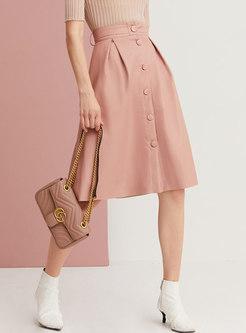 High Waisted Single-breasted A Line PU Skirt