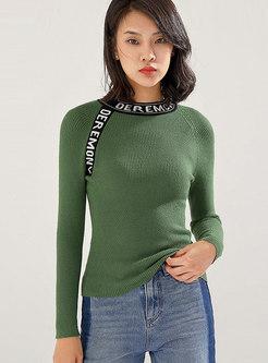 Mock Neck Letter Color-blocked Slim Sweater