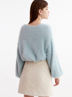Crew Neck Loose Pullover Fuzzy Sweater