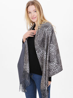 Leopard Faux Cashmere Fringed Scarf