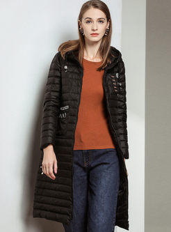 Hooded Long Puffer Coat With Pockets