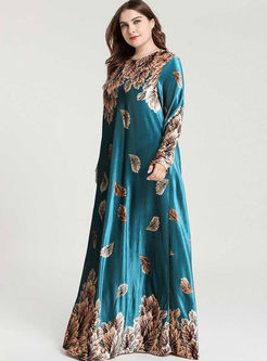 Plus Size Print Velvet Maxi Dress