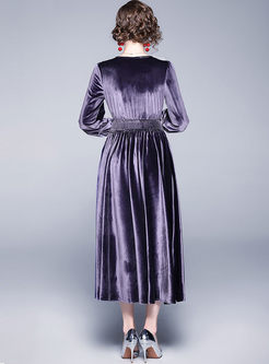 Lace Lapel Velvet Blouson Maxi Dress