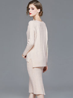 V-neck Beading Fringed Sweater Skirt Suit