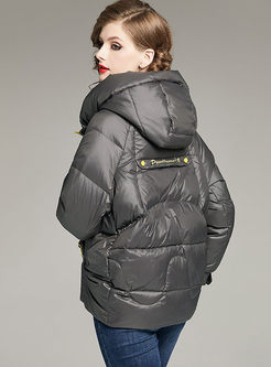 Color-blocked Hooded Loose Down Jacket