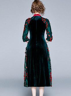 Mock Neck Embroidered Velvet Skater Dress