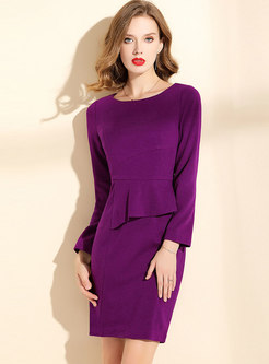 Solid Color Crew Neck Wool Blend Bodycon Dress