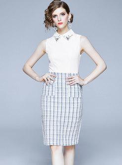 Sleeveless Patchwork Tweed Bodycon Dress & Short Tweed Top