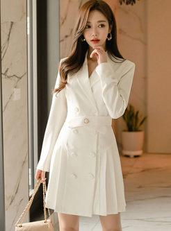 White Long Sleeve Office Skater Dress
