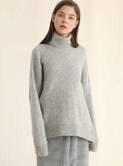Turtleneck Loose Pullover Tunic Sweater