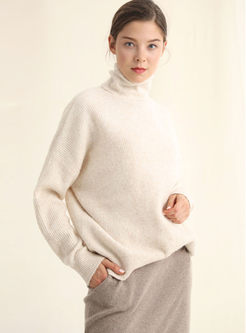Turtleneck Loose Pullover Tunic Sweater