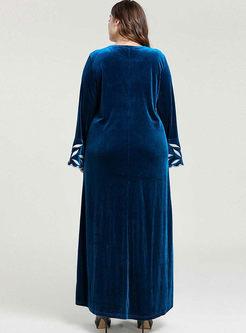 Plus Size Embroidered Velvet Maxi Dress