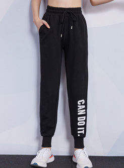 High Waisted Letter Print Sweatpants