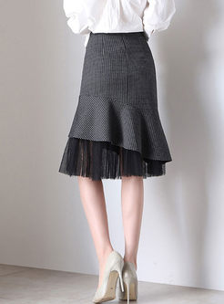 High Waist Plaid Patchwork Mesh Peplum Skirt